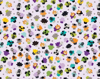 Super Cute Halloween Cupcake Characters on Purple Fabric ~ Riley Blake Halloween Magic ~ Woven Cotton by the Yard