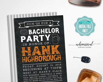 """Bachelor Party Invitation """"Black Leather Beer"""" (Printable File Only) Guy's Night Out, Stag Night, Last Night, Masculine Invite, Groom Invite"""