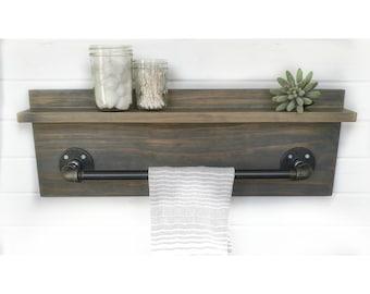 Industrial Shelf - Industrial Bathroom Shelf - Industrial Kitchen Shelf - Towel Rack - Bathroom Shelf - Kitchen Shelf - Pipe Shelf