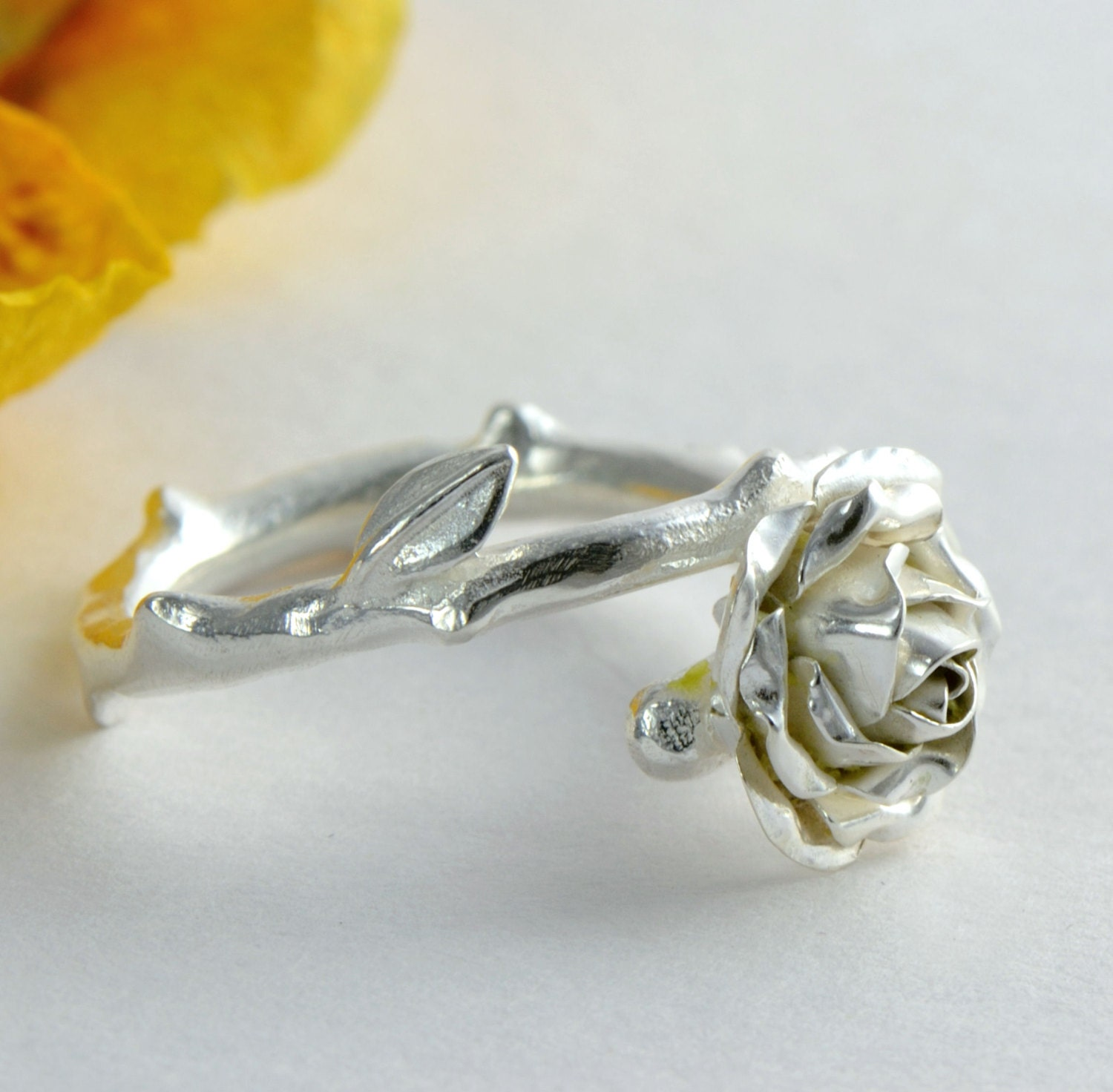silver rose engagement ring