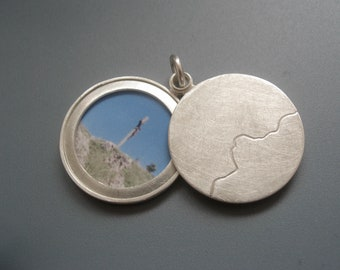Picture-locket sterling silver, Mountain range locket, silver locket, personalized locket, handmade locket, Mountain range