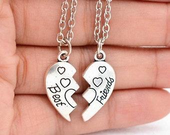 BFF necklace, heart pendant, best friend necklace, best friend charm necklace, Initial necklace, sister necklace, personalized necklace set