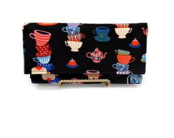 Tea pot fabric wallet, rifle paper co wallet, women's wallet, clutch wallet