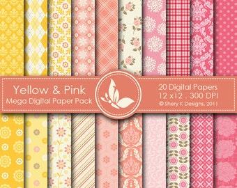 Yellow & Pink Mega Paper Pack - 20 Printable Digital papers - 12 x12 - 300 DPI