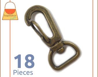 "1/2 Inch Swivel Snap Hooks, Antique Brass / Bronze Finish, 18 Pieces, Purse Handbag Bag Making Hardware Supplies, 1/2"", .5"", SNP-AA077"