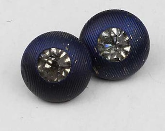 Set of 2 Tiny Dimi Rhinestone Buttons Navy Blue Metal 5/16 inch 8mm Diminutive Sewing Buttons