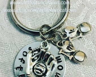 Softball Mom Key Ring, Softball Mom Jewelry, Mom Gifts, Mothers Day Gifts, Sports Mom, Keyring, Personalized Mothers Gifts