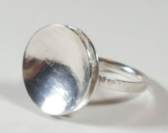 Handcrafted sterling silver 'floating disc' ring