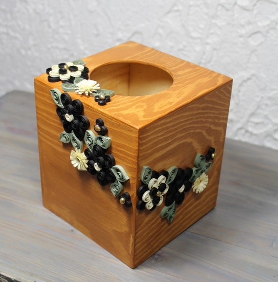 Square Wooden Tissue Box Decorated With Quilled Black And