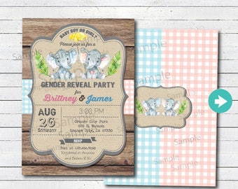 Joint baby shower etsy retro coed couples joint baby shower blue grey gray rustic wood burlap printable digital invite b234 filmwisefo