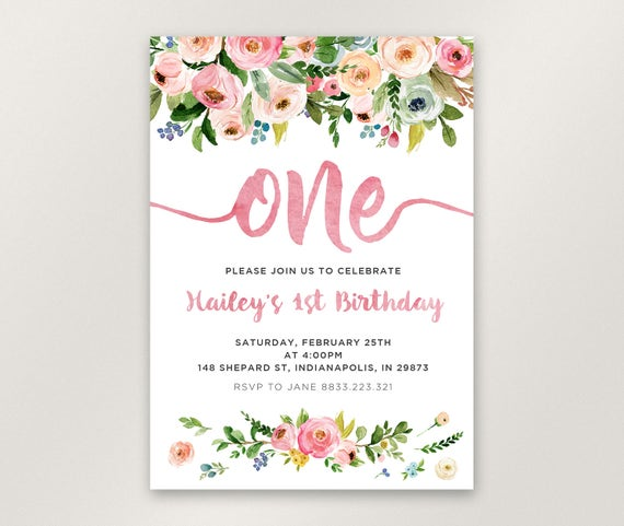 Floral 1st birthday invitation girl first birthday like this item bookmarktalkfo Image collections
