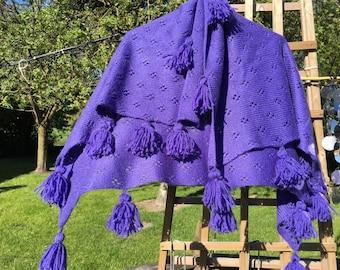 Kids purple scarf with PomPoms