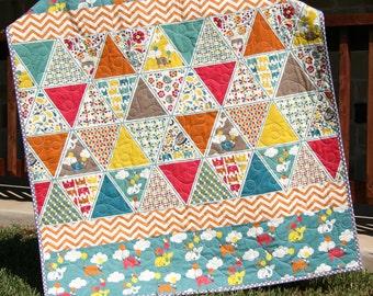 SALE Baby Girl Quilt, Organic Baby Blanket, Modern Unique, Geometric Triangles, Crib Cot Nursery, Balloons Chevron, Whales Elephants, Gift