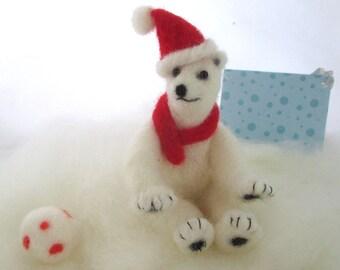 Needle felted polar bear, white wool animal, Christmas soft sculpture, holiday decoration, Stocking Stuffer