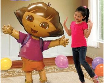 """HUGE 52"""" Dora the Explorer Airwalker Jumbo Birthday Balloon, Dora Party Balloons, Dora Birthday Decorations, Dora Foil Mylar Balloon"""