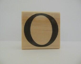 Letter O Rubber Stamp - Modern Monogram Collection - Wood Mounted Rubber Stamp - Alphabet Letter O Stamp