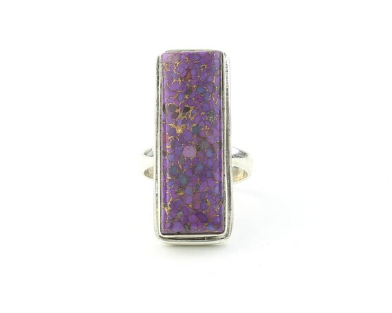 Sterling Silver Purple Copper Turquoise Ring, Large Sterling Silver Ring, Gemstone Jewelry, Boho, Gypsy, Wiccan, Hippie, Spiritual