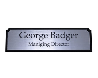 Executive Personalised Desk Name Plate, Custom Engraved Sign, Office Plaque, Personal sign Plastic sign
