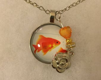 Handmade Goldfish Necklace with Charm