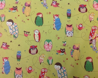 Alexander Henry Fabric Spotted Owl Green Bkg 1 Yard
