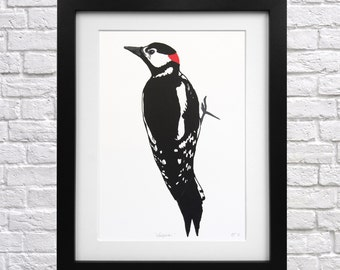 Woodpecker Screen Print - bird print - british woodland - woodland bird - black and red - gift for mum - gift for dad - gift for bird lovers