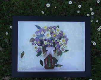 Frame window eternal flowers modeled in cold porcelain