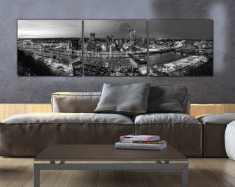 Pittsburgh Skyline on Canvas, B&W Large Wall Art, Pittsburgh Print, Pittsburgh art, Pittsburgh Photo, Pittsburgh Canvas, Black and White