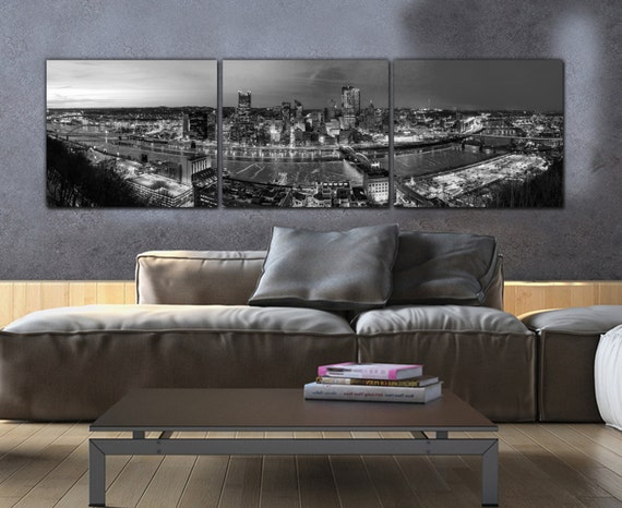 Pittsburgh Skyline On Canvas, B&W Large Wall Art, Pittsburgh Print, Pittsburgh Art, Pittsburgh Photo, Pittsburgh Canvas, Black And White by Etsy
