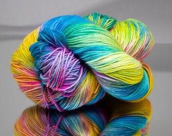 Pre-Order: Hand dyed sock yarn - Tropicana - Superwash Merino/Nylon blend 4-ply