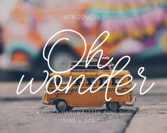 Oh Wonder Font + Bonus, Sans Serif Font, Monoline Font, Script Font, Wedding Font, Cursive Font, Signature Font, Style Font, Pre Made Logos