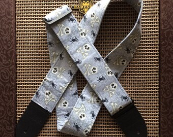 Skull spider guitar strap // grey guitar strap spiders, webs, skull and crossbones, jolly roger // Halloween all year pastel goth punk