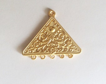 1 pc-Gold plated Triangle with loop pendant-45x55mm-(017-054GP)