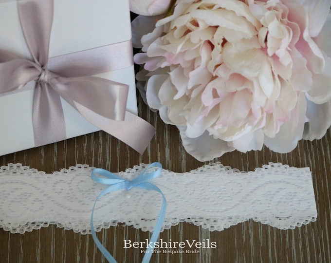 Something Blue Wedding Garter - custom made