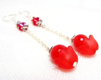 Rich Red Glass Tulip Earrings
