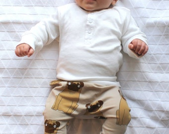 Pug baby clothes, organic baby clothes, baby boy leggings, baby gift set, toddler leggings, dog, organic cotton, handmade in Amsterdam!