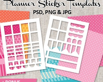 Commercial use Planner Sticker Templates, Digital Blank Template DIY stickers ECLF vertical layout (photoshop, png, jpg) and digital papers