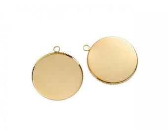 10 gold 25mm cabochon