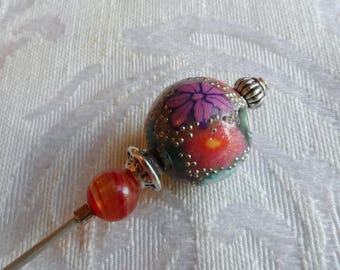 Hat Pin, Handmade Polymer Clay Bead, Vintage Glass Bead, Silver Tone, Purple, Red, Orange, Pink, White, Green