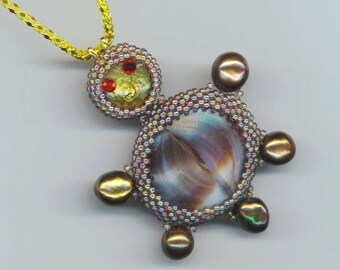 Beadwoven Turtle Pendant  . Coin Pearl, Iridescent Gray Shell, genuine Gray Pearls . Red Rhinestones- Turtle Story by enchantedbeads on Etsy