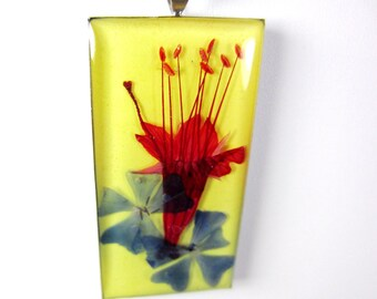 Glory on Yellow, Pressed Flower Pendant, Real Flower, Resin , Pressed Flower Jewelry (1114)