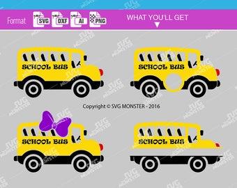 SCHOOL BUS SVG Bus monogram svg Back to school svg school svg split school bus svg Cutting files compatible for Cricut, Silhouette 058