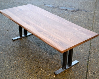 10 Seater Walnut Dining Table - Lived Edge Detail - Steel Pedestal Base