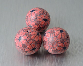 Red, Blue, and Cream Polymer Clay Beads - Multicolored Floral Beads - Round Polymer Clay Beads - Set of 3