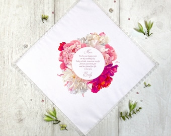 Wedding Handkerchief, Mother of the Bride Handkerchief,Wedding Hankerchief, mom gift, Wedding Gift,Father Of The Bride,Floral, Gift Box #1