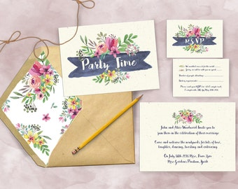 Spring Floral Wedding Reception Invitations and RSVPs
