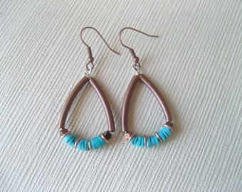 Earrings copper and silver, turquoise and Hematite beads