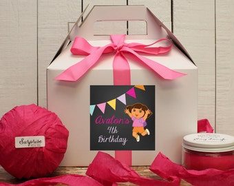 Set of 6 - Dora Birthday Party Favor Boxes // Dora Birthday Party // Kids Party Favor // Dora the Explorer Party // Dora Favors