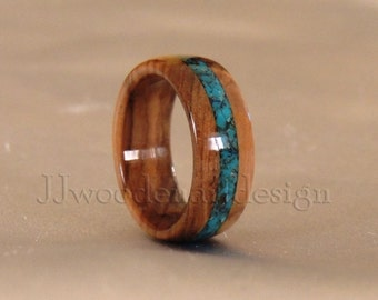 Olive wood ring . Turquoise inlay. Wood Ring.