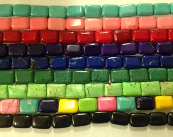 13x18mm flat rectangle magnesite beads, 22 beads
