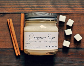 Cinnamon Sugar Mason Jar Soy Candle | Cinnamon Candle | Phthalate Free | Gift Ready | Hostess Gift